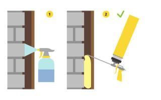 Как нанести монтажную пену на потолок?