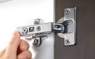 Как крепить петли на двери шкафа?