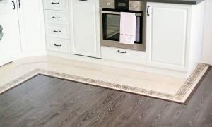 Как совместить плитку и ламинат на кухне?