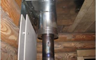 Как сделать трубу в бане через потолок?